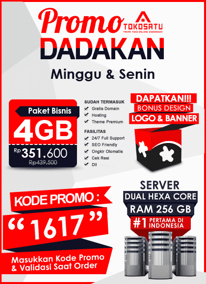 Promo Dadakan Toko Satu, Edisi 16 – 17 September 2018