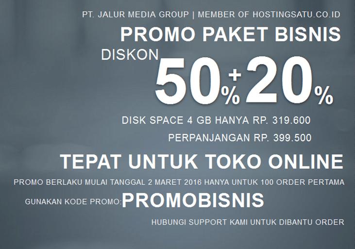 PROMO DISKON 50% + 20% PAKET BISNIS