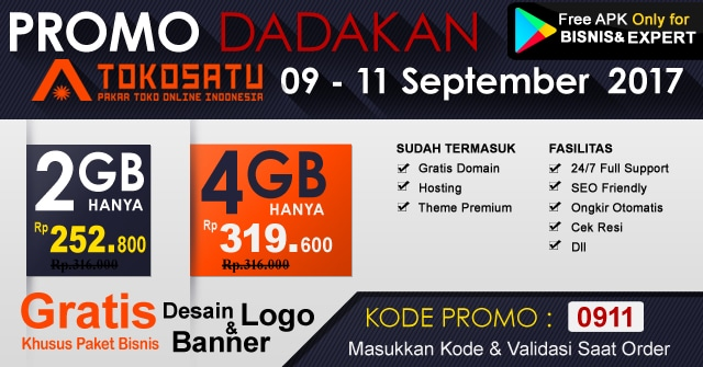 Promo Dadakan Edisi 9-11 September 2017