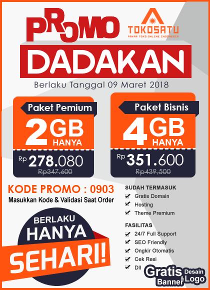 Promo Dadakan Sehari 9 Maret 2018