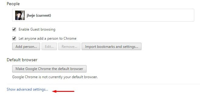 Clear Cahce pada Browser Crome - Show advanced settings