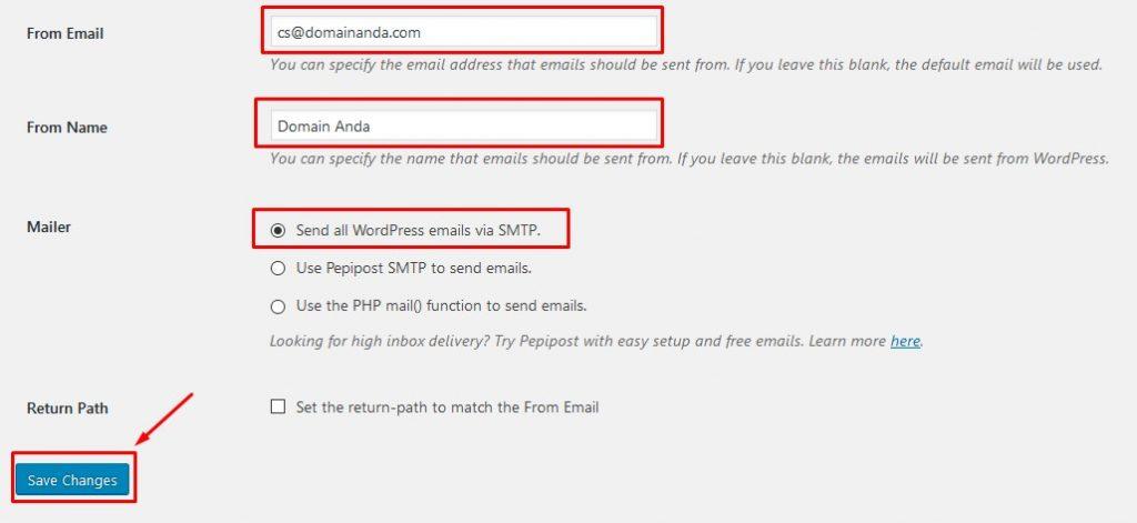 Setting Email Plugin WP-Mail-SMTP - Panduan toko satu