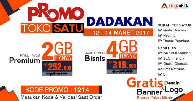 Promo Dadakan Toko Satu, 12 – 14 Maret 2017