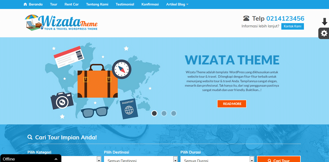 Theme Baru Tour dan Travel (WP Wizata)