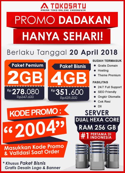 Promo Dadakan Sehari, Berlaku Tanggal 20 April 2018