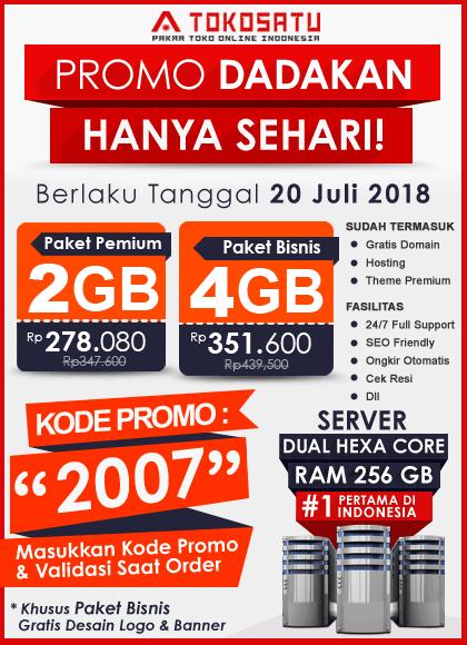 Promo Dadakan Toko Satu, Edisi 20 Juli 2018