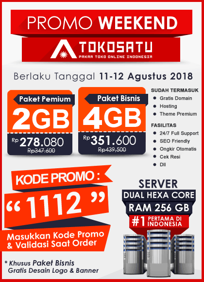 Promo Weekend Tokosatu, Edisi 11-12 Agustus 2018