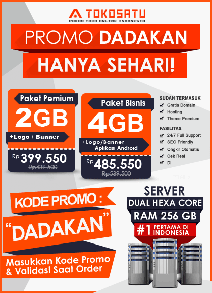 Promo Dadakan Tokosatu.com 19 Oktober 2018