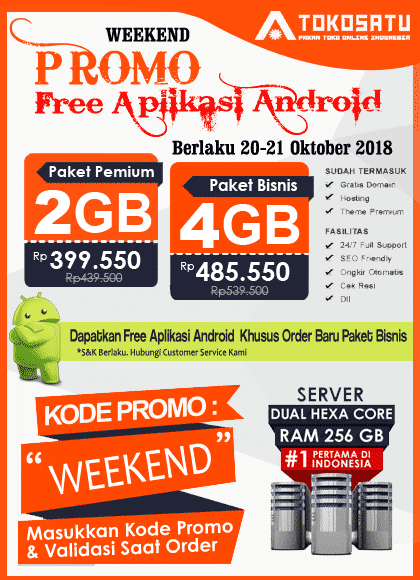 Promo Weekend Tokosatu, 20 – 21 Oktober 2018
